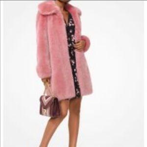 J. Crew Super Soft Faux Fur Coat in Rose xl